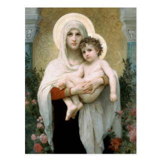 バラのクリスマスのマドンナ ポストカード