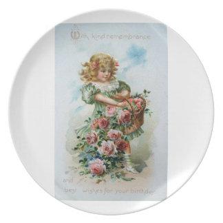 バラのプレートを持つビクトリアンな女の子 ディナープレート