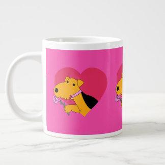バラのマグを持つAiredaleテリア犬 ジャンボコーヒーマグカップ