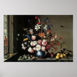 バラのユリポスターを持つ花のファインアート ポスター