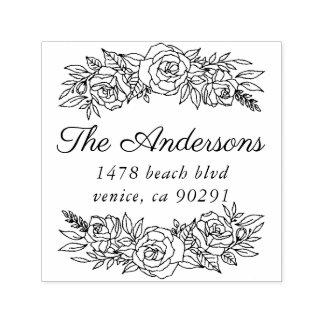 バラのリースが付いているかわいい住所スタンプ セルフインキングスタンプ