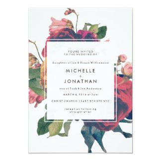 バラのヴィンテージのBohoの旧式な結婚式招待状 カード
