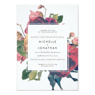 バラのヴィンテージのBohoの旧式な結婚式招待状 招待状