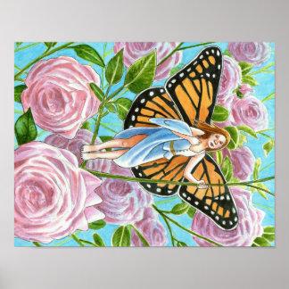 バラの中の(昆虫)オオカバマダラ、モナークの妖精 ポスター