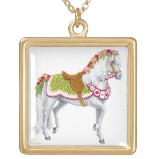 バラの回転木馬の馬のネックレス ゴールドプレートネックレス