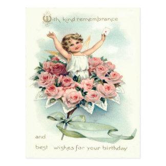 バラの天使の天使の花束 ポストカード
