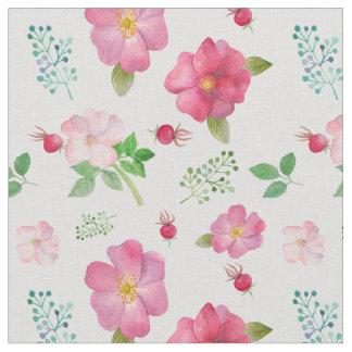 バラの実の庭の花柄パターン ファブリック