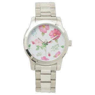 バラの実の庭の花柄パターン 腕時計