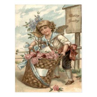 バラの巣箱の天使の天使のバスケット ポストカード