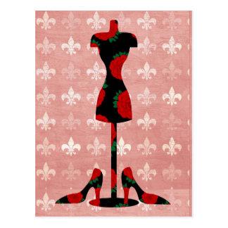 バラの服の型枠およびかかと ポストカード