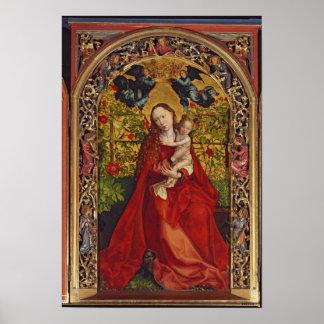 バラの木陰のマドンナ、1473年 ポスター