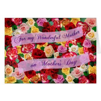 バラの母の日のベッドのすばらしい母のため カード