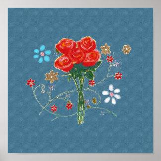 バラの美しい花のイラストレーション ポスター