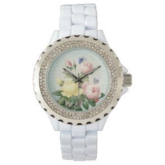 バラの花のヴィンテージフェミニンで、ガーリーな腕時計 腕時計
