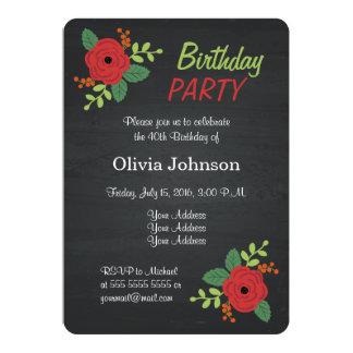 バラの花の黒板の誕生日のパーティの招待状 カード