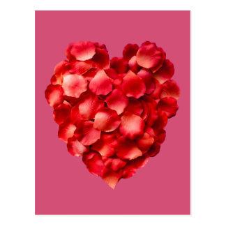 バラの花びらのハート ポストカード