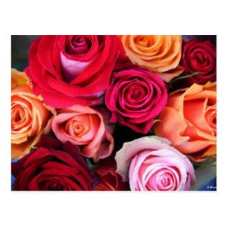 バラの花束の郵便はがき ポストカード