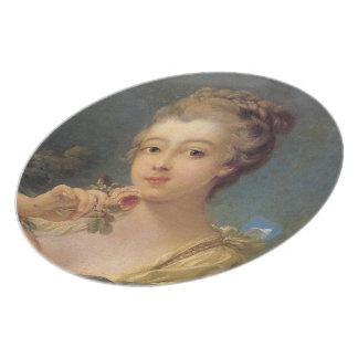 バラの花束を持つ若い女性 プレート