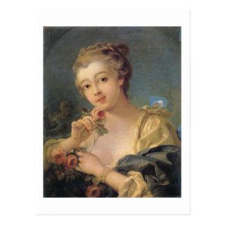 バラの花束を持つ若い女性 ポストカード
