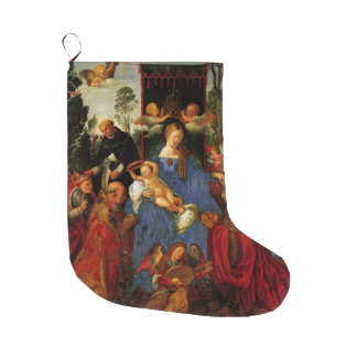 バラの花輪のクリスマスの饗宴 ラージクリスマスストッキング