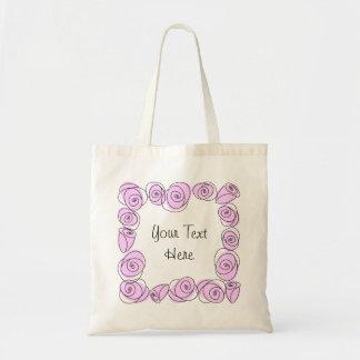 バラの薄紫の正方形の文字のトートバック トートバッグ