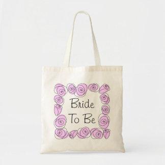 バラの薄紫の正方形トートバックが「ある」花嫁 トートバッグ