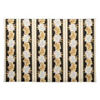 バラの金ゴールドの白く黒い花束は縞で飾ります ランチョンマット