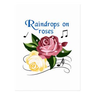 バラの雨滴 ポストカード