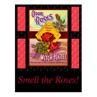 バラの香水のラベル ポストカード