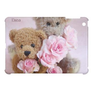 バラのiPadの小型場合を握っている2つのテディー・ベア iPad Mini カバー