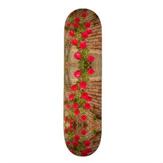バラはスケートボードのレンガ壁で上ります スケボーデッキ