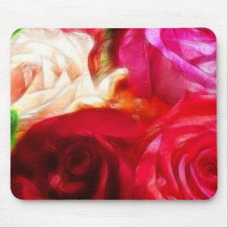 バラはピンクのモモの赤い芸術的及びユニークです マウスパッド