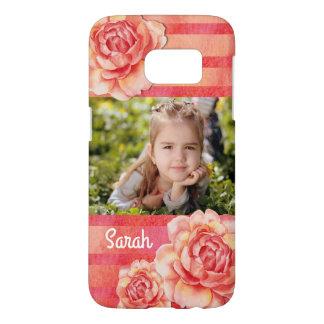 バラは及び縞で飾ります SAMSUNG GALAXY S7 ケース