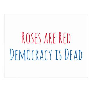 バラは赤いです、民主主義死んでいます ポストカード