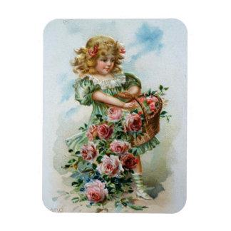 バラを持つビクトリアンな女の子 マグネット