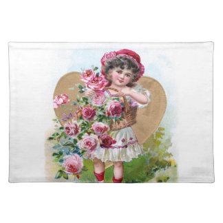 バラを持つ女の子 ランチョンマット