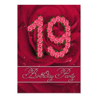 バラを持つ第19誕生日のパーティの招待状 カード