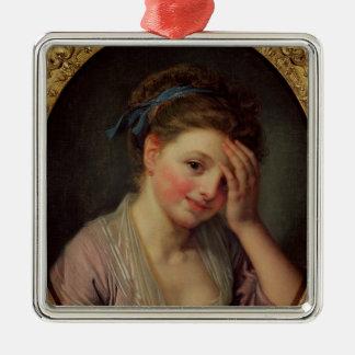 バラを持つ若い女の子 シルバーカラー正方形オーナメント