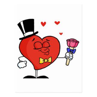 バラを握る紳士のハート ポストカード