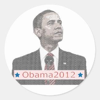 バラック・オバマの文字のポートレート2012年 ラウンドシール