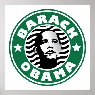 バラック・オバマの星のカフェインの緑の星のコーヒー木びき台 ポスター