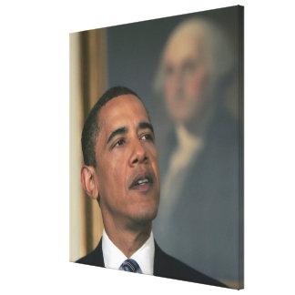 バラック・オバマは指名するために彼の意思を発表します キャンバスプリント
