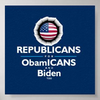バラック・オバマジョセフ・バイデンObamICANSの共和党員ポスター ポスター