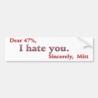 バラック・オバマミット・ロムニーの憎悪のための投票47% バンパーステッカー