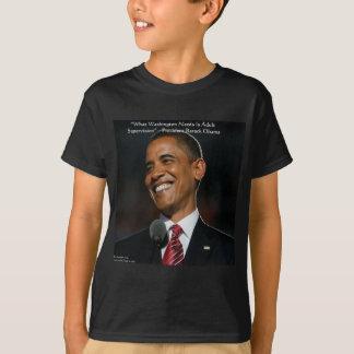 バラック・オバマ及びユーモアの引用文ギフト及びカード Tシャツ