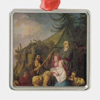 バラライカプレーヤー1764年 シルバーカラー正方形オーナメント