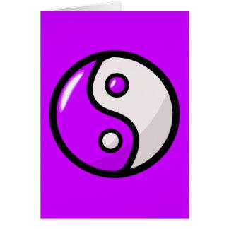 バランスの光沢のある紫色の陰陽 カード