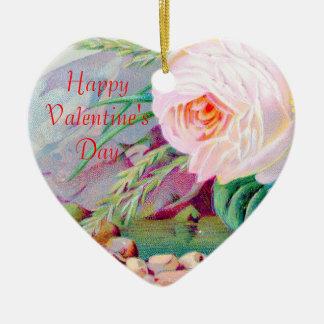 バラ及び小石のハッピーバレンタインデーのハート セラミックオーナメント
