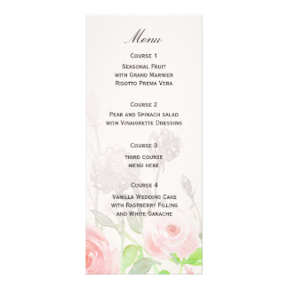バラ園のモダンな花の結婚式メニュー ラックカード