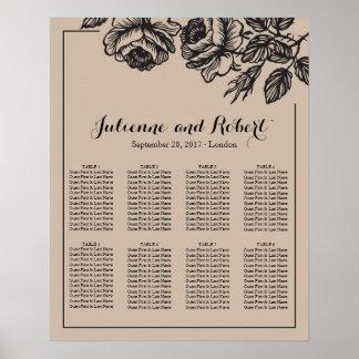 バラ園 の素朴な結婚式の座席の図表ポスター ポスター